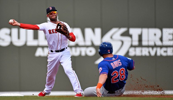 Mar 9, 2019; Fort Myers, FL, USA; Boston Red Sox second baseman Dustin Pedroia (15) turns a double play as New York Mets third baseman J.D. Davis (28) slides in during the second inning of the spring training game at JetBlue Park. Photo Credit: Jasen Vinlove-USA TODAY Sports