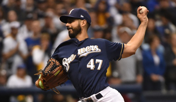 Oct 12, 2018; Milwaukee, WI, USA; Milwaukee Brewers starting pitcher Gio Gonzalez (47) delivers a pitch during the first inning against the Los Angeles Dodgers in game one of the 2018 NLCS playoff baseball series at Miller Park. Photo Credit: Benny Sieu-USA TODAY Sports