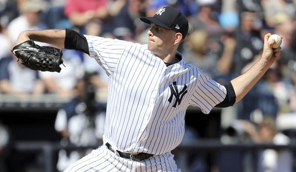 Feb 25, 2019; Tampa, FL, USA; New York Yankees starting pitcher James Paxton (65) throws a pitch during the first inning against the Toronto Blue Jays at George M. Steinbrenner Field. Photo Credit: Kim Klement-USA TODAY Sports