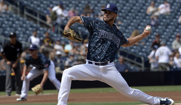 Sep 30, 2018; San Diego, CA, USA; San Diego Padres starting pitcher Joey Lucchesi (37) pitches during the first inning against the Arizona Diamondbacks at Petco Park. Photo Credit: Jake Roth-USA TODAY Sports