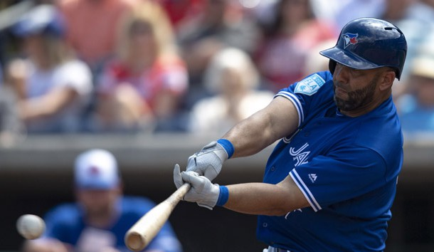 Mar 15, 2019; Clearwater, FL, USA; Toronto Blue Jays designated hitter Kendrys Morales (8) singles to right field during the fourth inning against the Philadelphia Phillies at Spectrum Field. Photo Credit: Douglas DeFelice-USA TODAY Sports