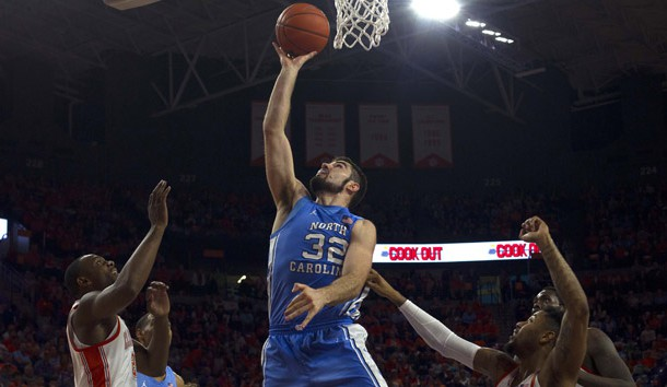 Mar 2, 2019; Clemson, SC, USA; North Carolina Tar Heels forward Luke Maye (32) goes in for the layup during the first half against the Clemson Tigers at Littlejohn Coliseum. Tar Heels won 81-79. Photo Credit: Joshua S. Kelly-USA TODAY Sports