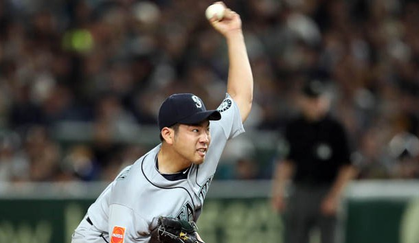 Mar 21, 2019; Tokyo,JPN; Seattle Mariners starting pitcher Yusei Kikuchi (18) throws a pitch during the fifth inning against the Oakland Athletics at Tokyo Dome. Photo Credit: Darren Yamashita-USA TODAY Sports