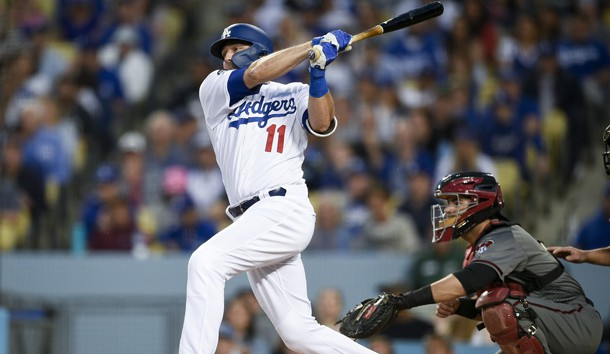 Mar 30, 2019; Los Angeles, CA, USA; Los Angeles Dodgers center fielder A.J. Pollock (11) follows through on a swing for an RBI single during the third inning against the Arizona Diamondbacks at Dodger Stadium. Photo Credit: Kelvin Kuo-USA TODAY Sports