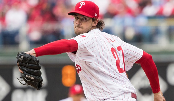 Mar 28, 2019; Philadelphia, PA, USA; Philadelphia Phillies starting pitcher Aaron Nola (27) throws a pitch during the sixth inning against the Atlanta Braves at Citizens Bank Park. Photo Credit: Bill Streicher-USA TODAY Sports