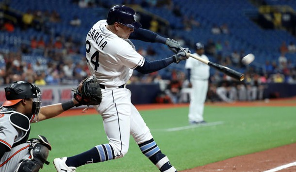 Apr 18, 2019; St. Petersburg, FL, USA;Tampa Bay Rays designated hitter Avisail Garcia (24) hits a home run during the ninth inning against the Baltimore Orioles at Tropicana Field. Photo Credit: Kim Klement-USA TODAY Sports