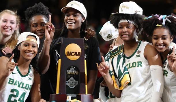 Apr 7, 2019; Tampa, FL, USA; Baylor Lady Bears guard Chloe Jackson (24),  forward Lauren Cox (15), center Kalani Brown (21),  guard DiDi Richards (2) and teammates celebrate after defeating Notre Dame Fighting Irish to win the championship game of the women's Final Four of the 2019 NCAA Tournament at Amalie Arena. Photo Credit: Kim Klement-USA TODAY Sports