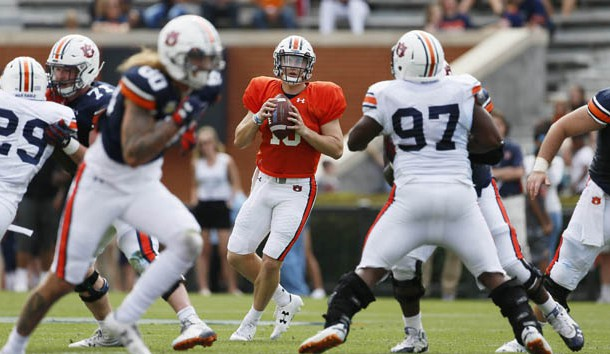 Apr 13, 2019; Auburn, AL, USA; Auburn Tigers quarterback Bo Nix (10) looks for a receiver during second quarter of the A-Day game at Jordan-Hare Stadium. Photo Credit: John Reed-USA TODAY Sports