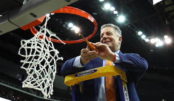 Mar 31, 2019; Kansas City, MO, United States; Auburn Tigers head coach Bruce Pearl cuts down the net after defeating the Kentucky Wildcats in the championship game of the midwest regional of the 2019 NCAA Tournament at Sprint Center. Photo Credit: Jay Biggerstaff-USA TODAY Sports