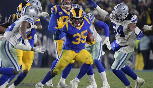 Jan 12, 2019; Los Angeles, CA, USA; Los Angeles Rams running back C.J. Anderson (35) runs against the Dallas Cowboys in a NFC Divisional playoff football game at Los Angeles Memorial Stadium. Photo Credit: Kirby Lee-USA TODAY Sports