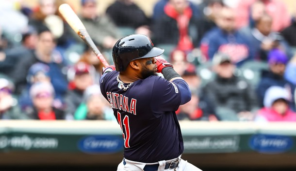 Mar 31, 2019; Minneapolis, MN, USA; Cleveland Indians first baseman Carlos Santana (41) hits a three run double in the top of the eighth inning against the Cleveland Indians at Target Field. Photo Credit: David Berding-USA TODAY Sports