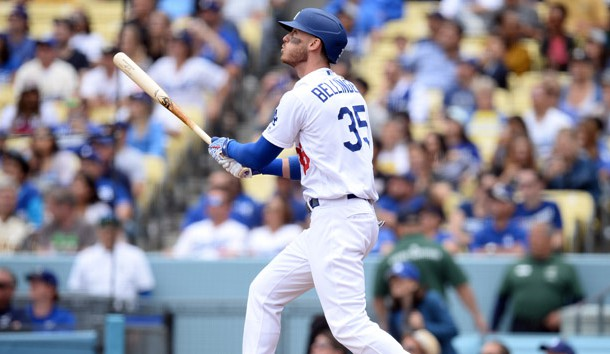 April 28, 2019; Los Angeles, CA, USA; Los Angeles Dodgers first baseman Cody Bellinger (35) hits a sacrifice RBI against the Pittsburgh Pirates during the first inning at Dodger Stadium. Photo Credit: Gary A. Vasquez-USA TODAY Sports
