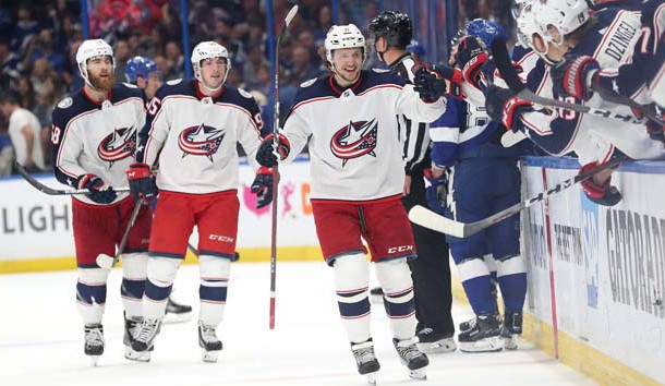 Apr 12, 2019; Tampa, FL, USA; Columbus Blue Jackets left wing Artemi Panarin (9) scores a goal during the third period of game two of the first round of the 2019 Stanley Cup Playoffs against the Tampa Bay Lightning at Amalie Arena. Photo Credit: Kim Klement-USA TODAY Sports