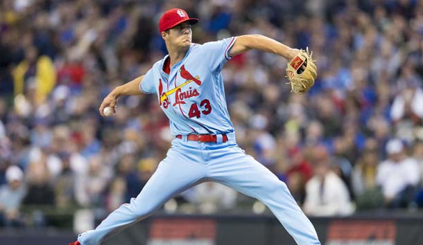 Mar 30, 2019; Milwaukee, WI, USA; St. Louis Cardinals pitcher Dakota Hudson (43) throws a pitch during the first inning against the Milwaukee Brewers at Miller Park. Photo Credit: Jeff Hanisch-USA TODAY Sports