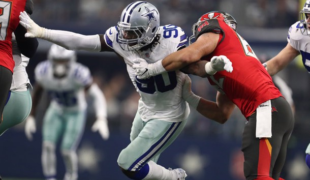 Dec 23, 2018; Arlington, TX, USA; Dallas Cowboys defensive end DeMarcus Lawrence (90) in action against the Tampa Bay Buccaneers at AT&T Stadium. Photo Credit: Matthew Emmons-USA TODAY Sports