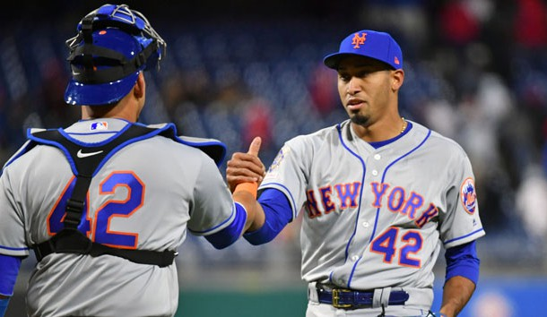 Apr 15, 2019; Philadelphia, PA, USA; New York Mets catcher Wilson Ramos, left and relief pitcher Edwin Diaz  celebrate win in eleven innings against the Philadelphia Phillies at Citizens Bank Park. Photo Credit: Eric Hartline-USA TODAY Sports