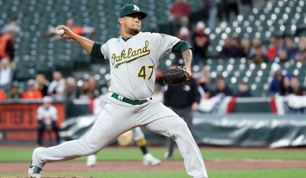 Apr 10, 2019; Baltimore, MD, USA; Oakland Athletics pitcher Frankie Montas (47) started the game against the Baltimore Orioles at Oriole Park at Camden Yards. Photo Credit: Mitch Stringer-USA TODAY Sports