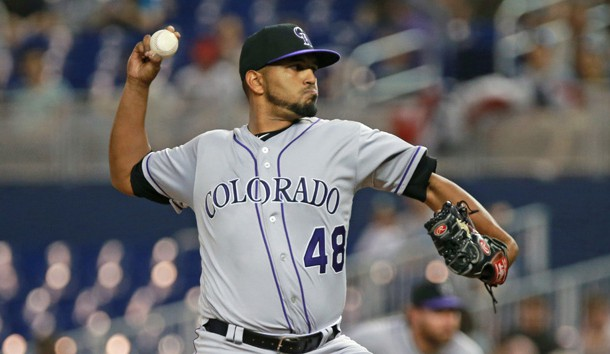 Mar 29, 2019; Miami, FL, USA; Colorado Rockies starting pitcher German Marquez (48) delivers a pitch in the first inning of a game against the Miami Marlins at Marlins Park. Photo Credit: Sam Navarro-USA TODAY Sports
