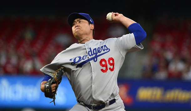 Apr 8, 2019; St. Louis, MO, USA; Los Angeles Dodgers starting pitcher Hyun-Jin Ryu (99) pitches during the second inning against the St. Louis Cardinals at Busch Stadium. Photo Credit: Jeff Curry-USA TODAY Sports