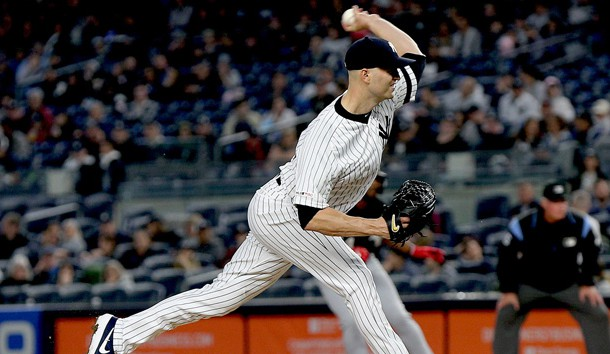 Apr 12, 2019; Bronx, NY, USA; New York Yankees starting pitcher J.A. Happ (34) pitches against the Chicago White Sox during the second inning at Yankee Stadium. Photo Credit: Andy Marlin-USA TODAY Sports