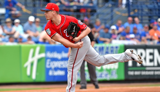 Mar 15, 2019; Port St. Lucie, FL, USA; Washington Nationals starting pitcher Jeremy Hellickson (58) throws the ball against the New York Mets during a spring training game at First Data Field. Photo Credit: Steve Mitchell-USA TODAY Sports