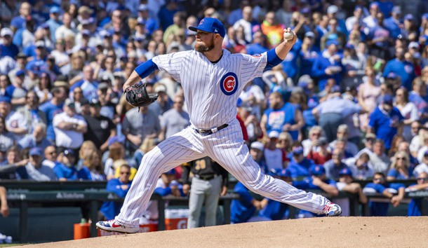 Apr 8, 2019; Chicago, IL, USA; Chicago Cubs starting pitcher Jon Lester (34) pitches during the first inning against the Pittsburgh Pirates at Wrigley Field. Photo Credit: Patrick Gorski-USA TODAY Sports