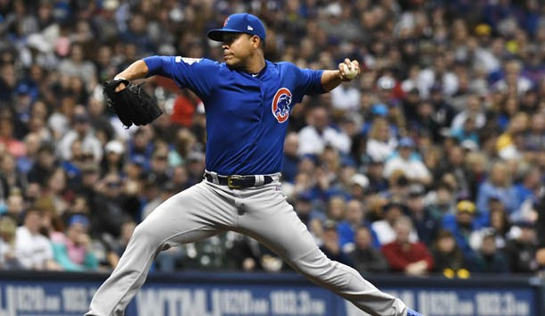 Apr 5, 2019; Milwaukee, WI, USA; Chicago Cubs Starting pitcher Jose Quintana (62) delivers a pitch in the second inning against the Milwaukee Brewers at Miller Park. Photo Credit: Michael McLoone-USA TODAY Sports