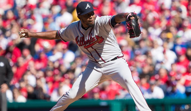 Mar 28, 2019; Philadelphia, PA, USA; Atlanta Braves starting pitcher Julio Teheran (49) throws a pitch during the first inning against the Philadelphia Phillies at Citizens Bank Park. Photo Credit: Bill Streicher-USA TODAY Sports