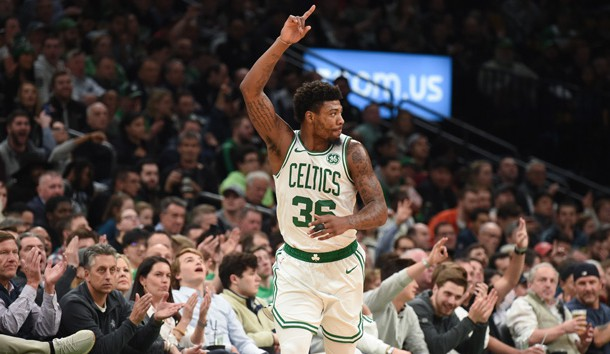 Apr 1, 2019; Boston, MA, USA; Boston Celtics guard Marcus Smart (36) reacts after making a basket during the first half against the Miami Heat at TD Garden. Photo Credit: Bob DeChiara-USA TODAY Sports