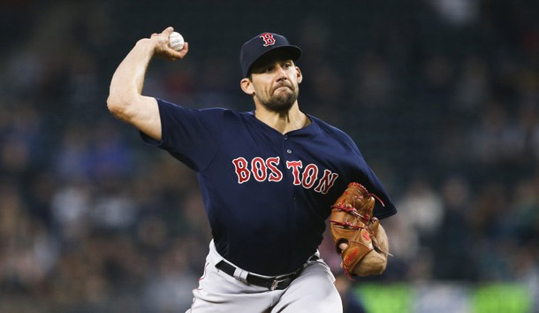 Mar 29, 2019; Seattle, WA, USA; Boston Red Sox starting pitcher Nathan Eovaldi (17) throws against the Seattle Mariners during the fourth inning at T-Mobile Park. Photo Credit: Joe Nicholson-USA TODAY Sports