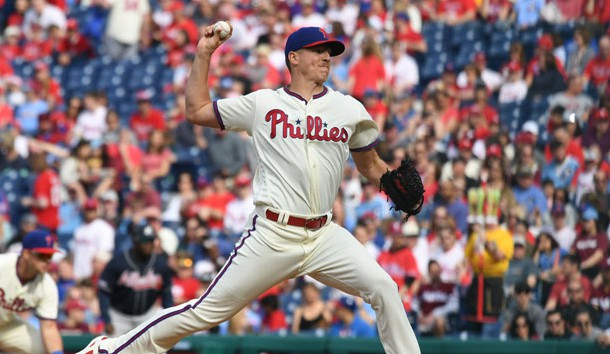 Mar 30, 2019; Philadelphia, PA, USA;  Philadelphia Phillies starting pitcher Nick Pivetta (43) pitches during the first inning against the Atlanta Braves at Citizens Bank Park. Photo Credit: James Lang-USA TODAY Sports