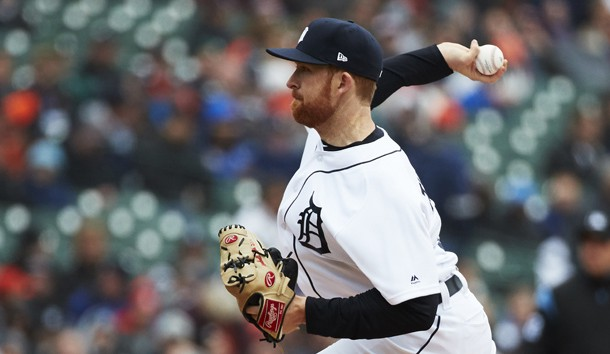 Apr 4, 2019; Detroit, MI, USA; Detroit Tigers pitcher Spencer Turnbull (56) pitches in the first inning against the Kansas City Royals at Comerica Park. Photo Credit: Rick Osentoski-USA TODAY Sports