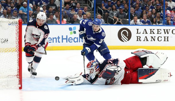 Apr 10, 2019; Tampa, FL, USA; Columbus Blue Jackets goaltender Sergei Bobrovsky (72) makes a save as Columbus Blue Jackets defenseman Markus Nutivaara (65) defends against Tampa Bay Lightning center Yanni Gourde (37) during the first period of game one of the first round of the 2019 Stanley Cup Playoffs at Amalie Arena. Photo Credit: Kim Klement-USA TODAY Sports
