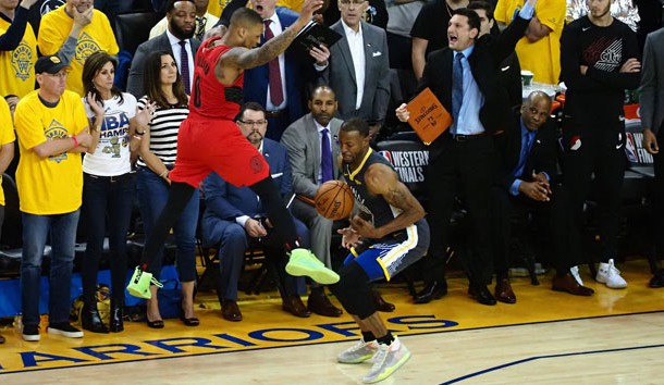 May 16, 2019; Oakland, CA, USA; Golden State Warriors guard Andre Iguodala (9) steals the ball from Portland Trail Blazers guard Damian Lillard (0) on the final play of the fourth quarter in game two of the Western conference finals of the 2019 NBA Playoffs at Oracle Arena. Photo Credit: Kelley L Cox-USA TODAY Sports