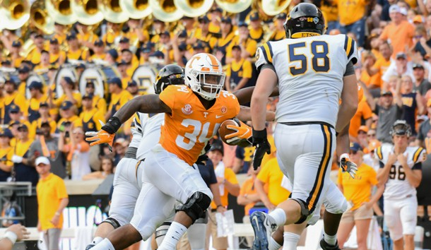 Sep 8, 2018; Knoxville, TN, USA; Tennessee Volunteers linebacker Darrin Kirkland Jr. (34) returns an interception for a touchdown against the East Tennessee State Buccaneers  during the second quarter at Neyland Stadium. Photo Credit: Randy Sartin-USA TODAY Sports