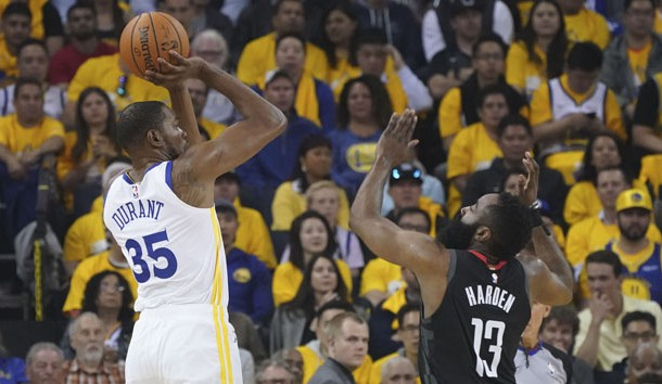 May 8, 2019; Oakland, CA, USA; Golden State Warriors forward Kevin Durant (35) shoots the basketball against Houston Rockets guard James Harden (13) during the first quarter in game five of the second round of the 2019 NBA Playoffs at Oracle Arena. Photo Credit: Kyle Terada-USA TODAY Sports