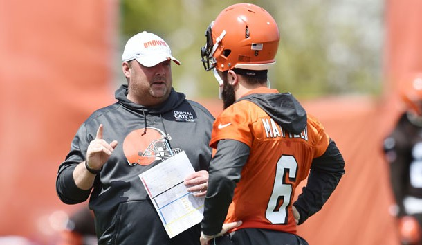 May 15, 2019; Berea, OH, USA; Cleveland Browns head coach Freddie Kitchens talks with quarterback Baker Mayfield (6) during organized team activities at the Cleveland Browns training facility. Photo Credit: Ken Blaze-USA TODAY Sports
