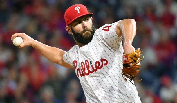 May 15, 2019; Philadelphia, PA, USA; Philadelphia Phillies starting pitcher Jake Arrieta (49) throws a pitch during the fifth inning against the Milwaukee Brewers at Citizens Bank Park. Photo Credit: Eric Hartline-USA TODAY Sports
