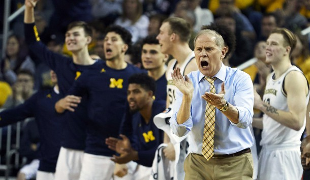Dec 15, 2018; Ann Arbor, MI, USA; Michigan Wolverines head coach John Beilein reacts to a three point basket in the second half against the Western Michigan Broncos at Crisler Center. Photo Credit: Rick Osentoski-USA TODAY Sports