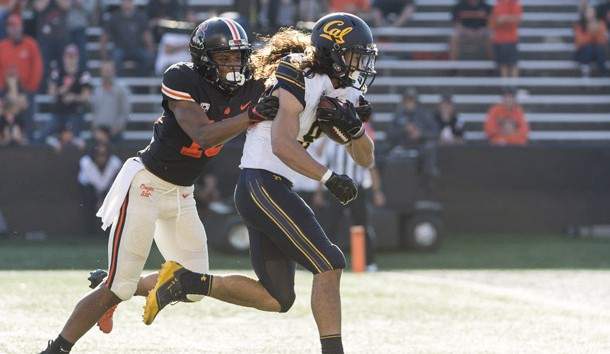 Oct 20, 2018; Corvallis, OR, USA; California Golden Bears wide receiver Kanawai Noa (9) breaks away from Oregon State Beavers safety Jeffrey Manning Jr. (15) for a touchdown during the second half at Reser Stadium. The California Golden Bears beat the Oregon State Beavers 49-7. Photo Credit: Troy Wayrynen-USA TODAY Sports