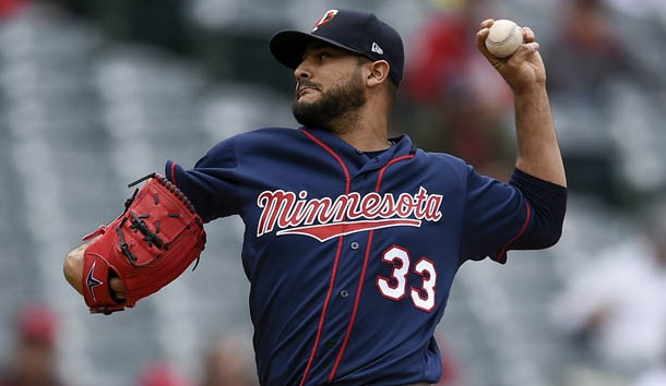 May 23, 2019; Anaheim, CA, USA; Minnesota Twins starting pitcher Martin Perez (33) pitches during the first inning against the Los Angeles Angels at Angel Stadium of Anaheim. Photo Credit: Kelvin Kuo-USA TODAY Sports