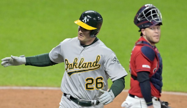 May 20, 2019; Cleveland, OH, USA; Cleveland Indians catcher Roberto Perez (55) reacts as Oakland Athletics third baseman Matt Chapman (26) celebrates his two-run home run in the ninth inning at Progressive Field. Photo Credit: David Richard-USA TODAY Sports