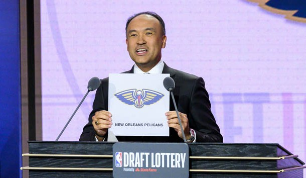 May 14, 2019; Chicago, IL, USA; NBA deputy commissioner Mark Tatum reveals the number one pick for the New Orleans Pelicans during the 2019 NBA Draft Lottery at the Hilton Chicago. Photo Credit: Patrick Gorski-USA TODAY Sports