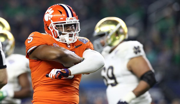 Dec 29, 2018; Arlington, TX, United States; Clemson Tigers linebacker Shaq Smith (5) celebrates a sack in the second half against the Notre Dame Fighting Irish in the 2018 Cotton Bowl college football playoff semifinal game at AT&T Stadium. Photo Credit: Matthew Emmons-USA TODAY Sports