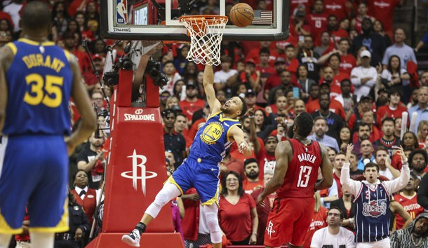 May 4, 2019; Houston, TX, USA; Golden State Warriors guard Stephen Curry (30) is unable to score during overtime against the Houston Rockets in game three of the second round of the 2019 NBA Playoffs at Toyota Center. Photo Credit: Troy Taormina-USA TODAY Sports