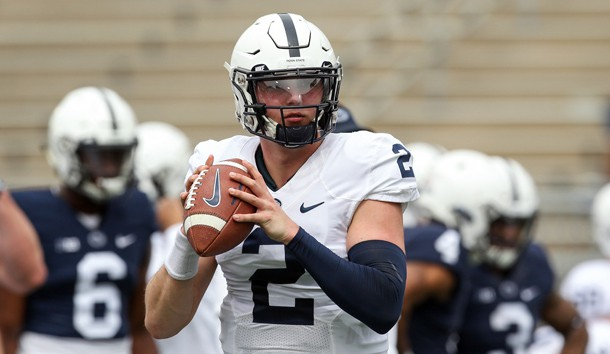 Apr 13, 2019; University Park, PA, USA; Penn State Nittany Lions quarterback Tommy Stevens (2) looks to throw a pass during a warmup prior to the Blue White spring game at Beaver Stadium. Photo Credit: Matthew O'Haren-USA TODAY Sports
