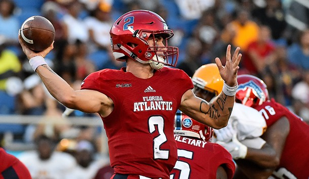 Sep 15, 2018; Boca Raton, FL, USA; Florida Atlantic Owls quarterback Chris Robison (2) attempts a pass against the Bethune Cookman Wildcats during the first half at FAU Football Stadium. Photo Credit: Jasen Vinlove-USA TODAY Sports