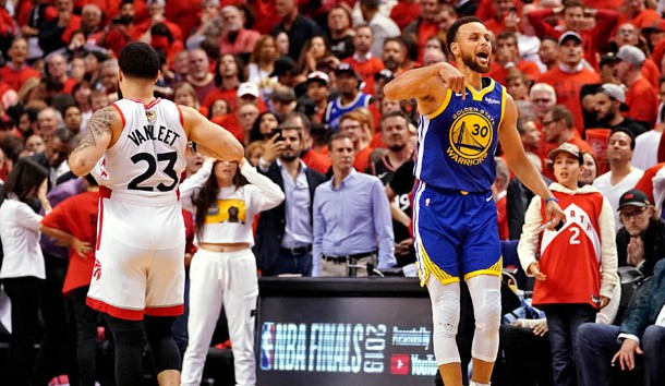 Jun 10, 2019; Toronto, Ontario, CAN; Golden State Warriors guard Stephen Curry (30) reacts after game five of the 2019 NBA Finals against the Toronto Raptors at Scotiabank Arena. Photo Credit: Kyle Terada-USA TODAY Sports