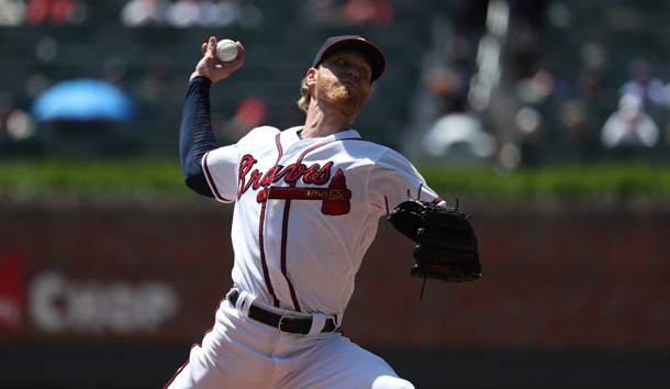 May 2, 2019; Atlanta, GA, USA; Atlanta Braves starting pitcher Mike Foltynewicz (26) delivers a pitch to a San Diego Padres batter in the fourth inning at SunTrust Park. Photo Credit: Jason Getz-USA TODAY Sports