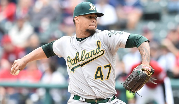 May 22, 2019; Cleveland, OH, USA; Oakland Athletics starting pitcher Frankie Montas (47) throws a pitch during the first inning against the Cleveland Indians at Progressive Field. Photo Credit: Ken Blaze-USA TODAY Sports